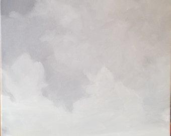 Purple Sky, 11x14, Studio Canvas, Wired Canvas,  Cloud Painting, Original Oil, Oil landscape,