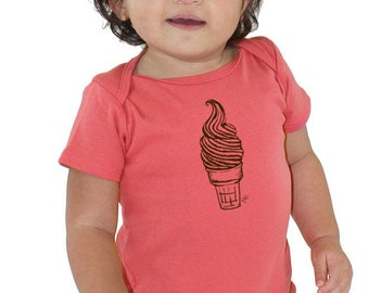 Ice Cream Onepiece, First Birthday Ice Cream Cone Shirt Unisex Organic Baby Clothing  New Baby Gift Boy, Baby Shower Gift Girl Baby Bodysuit