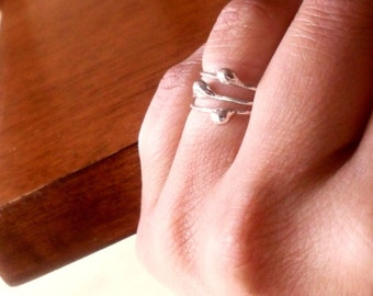 Simply Flowing Drop Sterling Silver Skinny Stacking Rings - Set of 3