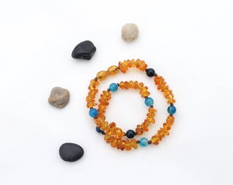 Amber Teething Necklace - Baltic Amber Teething Necklace - Teething Necklace - Crystal Healing Necklace - Amber Jewelry - Agate Necklace