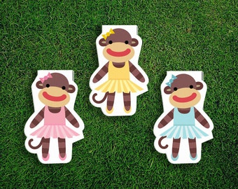 Magnetic Bookmark Set | Sock Monkey Ballerina Magnet Cute Book Bookmarks Pack of 3 Magnetic Cute Quirky Kawaii Tutus Blue Pink Yellow