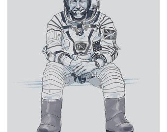Astronaut Tim Peake. Illustration art print.