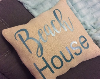 Beach House Burlap Envelope Pillow Cover/ Pillow Cover/ Burlap Pillow Cover/Living Room Pillow Cover/ Bedroom Pillow Cover