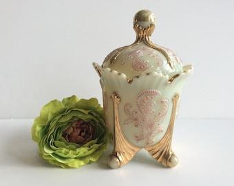 Victorian Custard glass Sugar bowl Northwood Inverted Fan & Feather, VG condition,, Wedding/Tea Party/Bridal shower