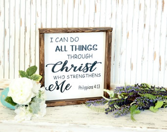 I Can Do All Things Through Christ, Farmhouse Style, Harvest Sign, Rustic Fall Decor, Vintage, Farmhouse, Thanksgiving Decor, Wood Signs