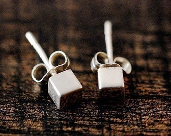 Small Cube Earrings - Sterling Silver