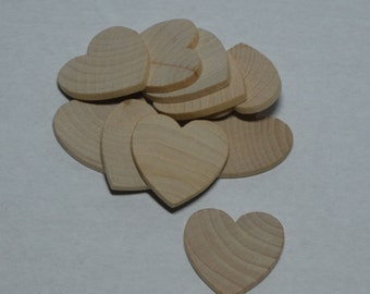 "1-1/4"" Wood Heart - Set 10 - Unfinished Wood Hearts - 1/8"" Thick - Wooden Hearts"