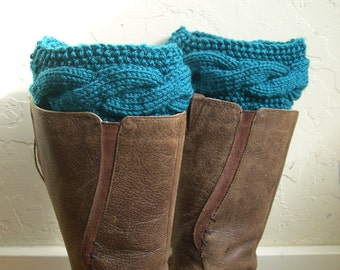 Teal Boot cuffs - Teal Legwarmers - Teal boot toppers  - Winter Fashion Accessory - Knit boot tops -Teal boot tops