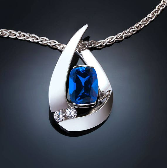 blue sapphire necklace, Chatham blue sapphire pendant, September birthstone, white sapphires, Argentium silver, fine jewelry - 3378