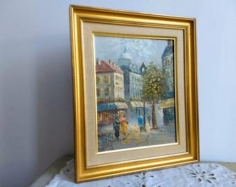 French vintage city scape of Paris with Sacre Coeur, Montmartre in the background, small oil on canvas, signed Burnett.