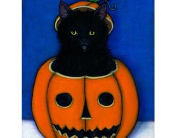 Black Cat Halloween art print. Jack OLantern