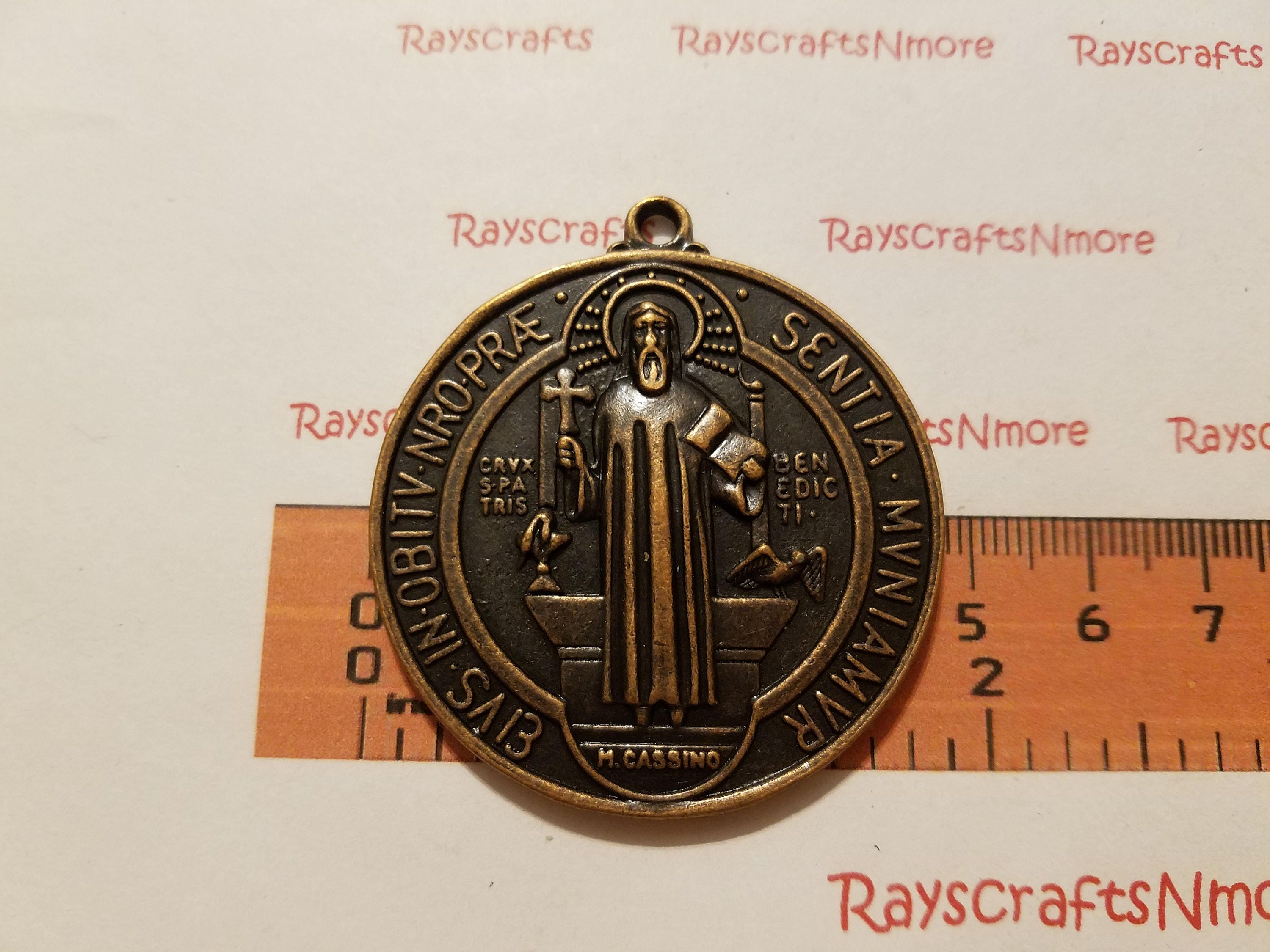 religious benedict on sacredbarcelona jewelry medal pendant plated silver catholic pin gold by gift medallion saint st