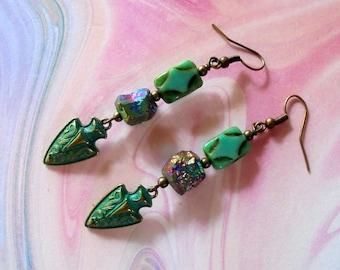 Turquoise and Rainbow Titanium Boho Arrowhead Earrings (4466)