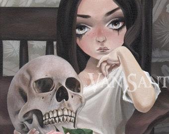 Flesh and Bone giclee pop surrealism print by Susan Van Sant