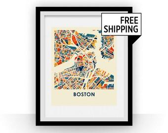 Boston Map Print - Full Color Map Poster