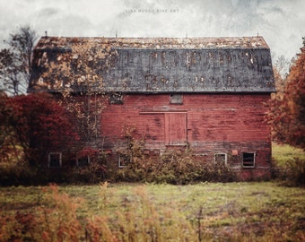 Farmhouse Decor, Barn Large Print or Canvas, Vintage Barn, Red Barn, Red Wall Art, Country Rustic Home Decor, Barn Landscape, Autumn Barn.