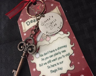 Santa's magic key hand stamped with kids names and poem