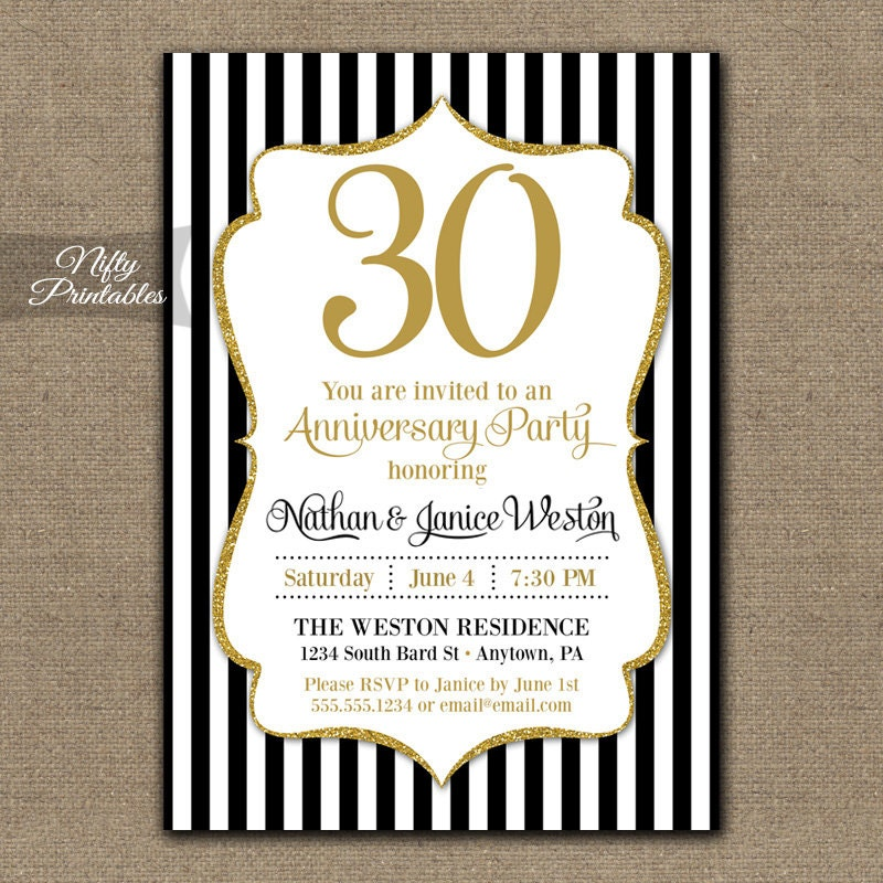30th anniversary invitations printable black gold zoom stopboris Image collections