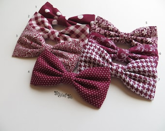 Mismatched Burgundy Wedding Bow Tie - Burgundy, Burgundy Wedding Bow Ties, Groomsmen Bow Ties, Mix and Match Burgundy Bow Ties