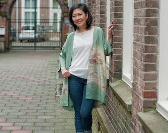 Japanese Kimono Jacket | Silk Kimono Robe | Kimono Cardigan | Boho Jacket | Haori | Lighy Green Kimono | Floral Jacket |