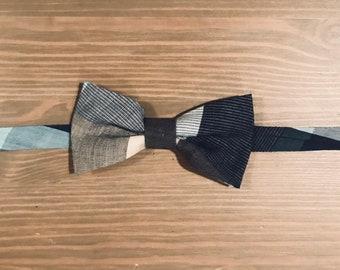 Grey Plaid Boys bow tie