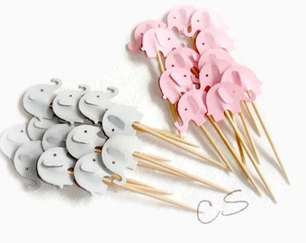 Mixed Pink & Grey Elephant Cupcake Toppers, Food Picks-Set of 12pcs, 24 pcs