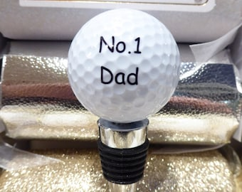 No. 1 Dad White Golf Ball Wine Bottle Stopper