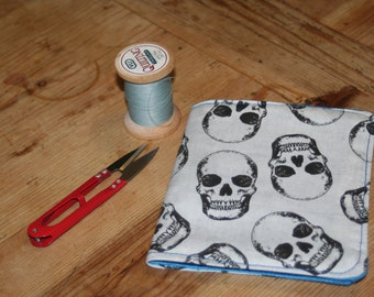 Skull print and felt needle case, needle book, needle minder.  Skull needle case.  Gift for crafters,sewing gift, Christmas birthday gift
