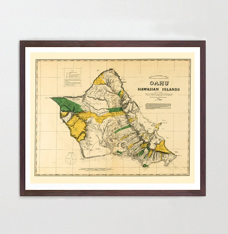 Hawaii Map - Oahu Map Art - Map Decor - Hawaiian Island Map - Hawaii ...
