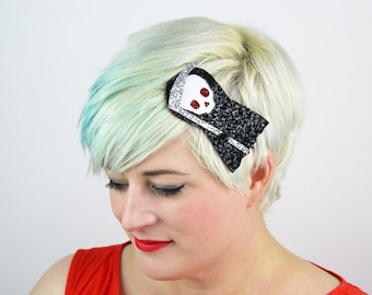 Cute Death Headband, Glitter, Halloween, Black