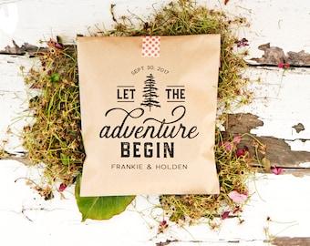 Let the Adventure Begin - Personalized Wedding Favor Bag - Trail Mix, Mountain, Camping, Yosemite, Yellowstone, Hiking, Woods - 20 Kraft Bag