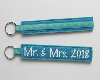 "Key fob ""Mr. & Mrs. 2018"" Turquoise"