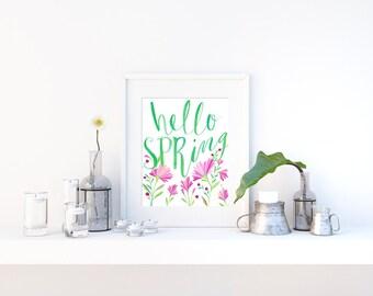 Spring Decor, Hello Spring Print, Spring Wall Art, Spring Printable, Spring Flowers, Hello Spring Sign, Floral Spring, Printable Decor