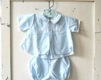 vintage baby boy suit light blue gingham two piece outfit train detail