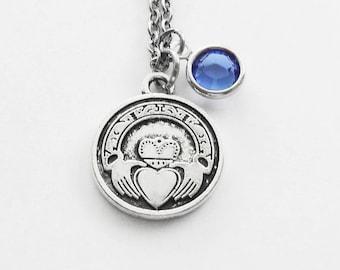 Claddagh Birthstone Necklace, Irish Necklace, Ireland Jewelry, Love Jewelry, Friendship, Loyalty, Silver Jewelry Swarovski Channel