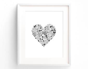 Floral Heart   Art Print    Wall Art   Grey and White   Nursery Art   Home Decor   Modern Print   Heart Print   Minimalist   Minimal