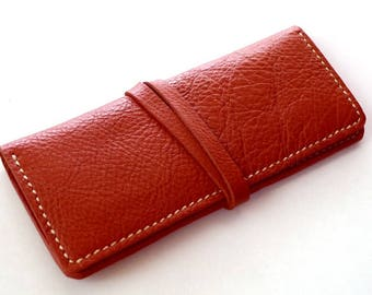Leather Wallet Bi-Fold Leather Clutch Custom Leather Bag Leather Card Wallet in Whisky Tan color Hand Stitched