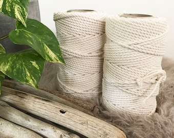 Macrame Cord 5mm x 1kg (approx 110m) 3 Ply (3 Strand) Twisted Natural Australian Cotton Macrame Rope