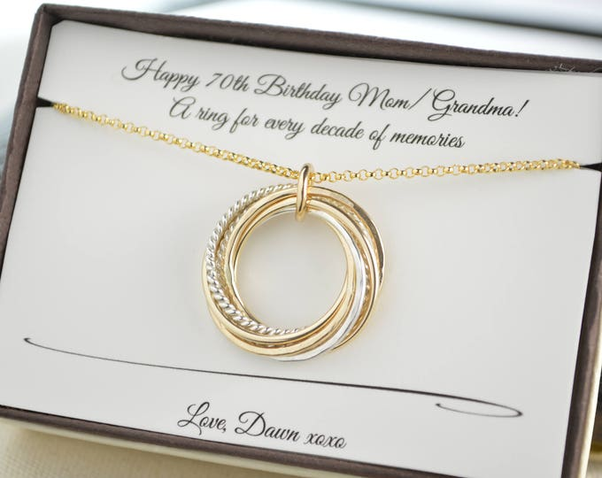 70th Birthday gift for mom and grand mom, 7 Mixed metals interlocking rings, 7th Anniversary gift for her, 70th Birthday gift for women