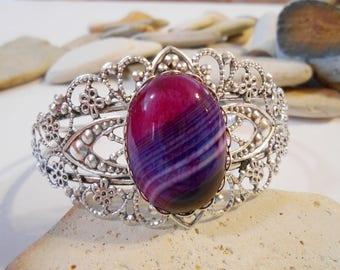 Cuff Bracelet   Agate Bracelet   Bangle Bracelets   For Women   Filigree Bracelet   Stone Bracelet   Gemstone Bracelet   Purple   Fuchsia