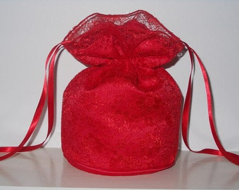 Red lace and red satin dolly bag. Ribbon drawstring, wrist purse, wedding bag for bride/bridesmaid/prom. Bridal UK Seller