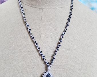 Macrame necklace, Sodalite necklace, Gemstone necklace, Hippie jewelry, Boho jewelry