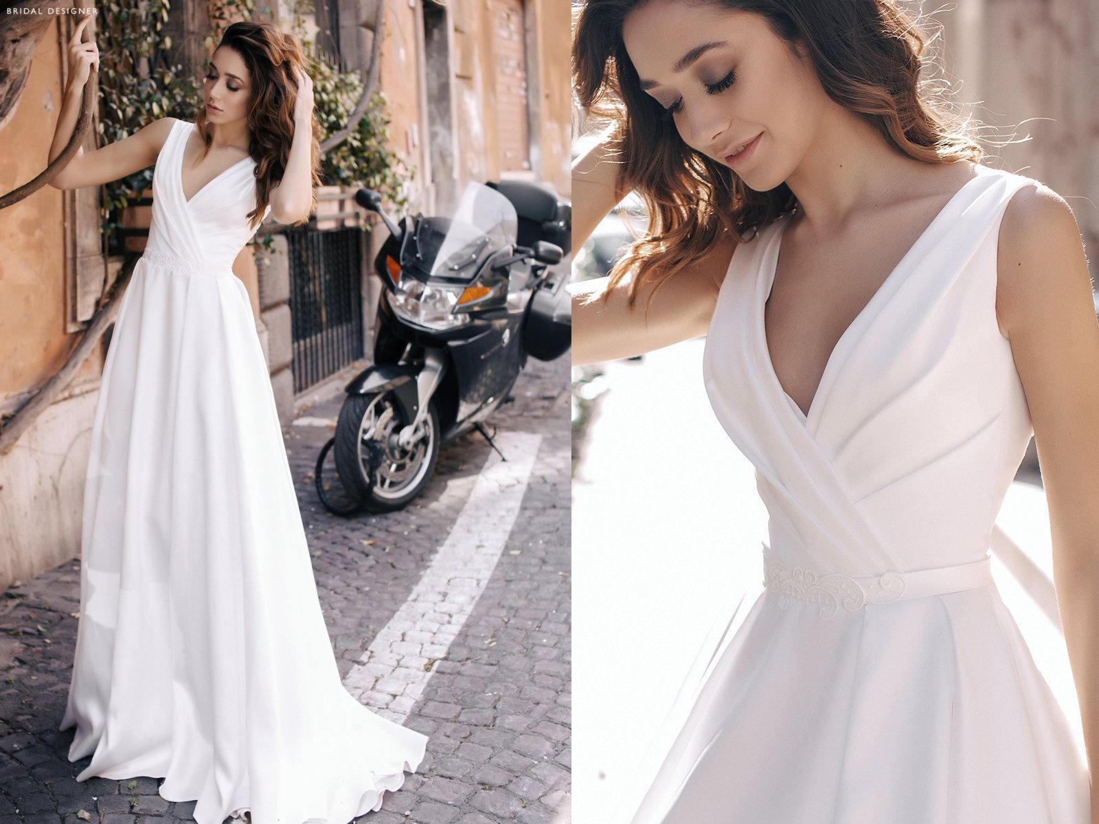 V-Hals-A-Linie Hochzeit Kleid Satin Braut Ballkleid mit Perlen