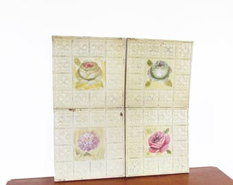 Floral Tin Wall Ceiling Hand Painted Decorative Tiles