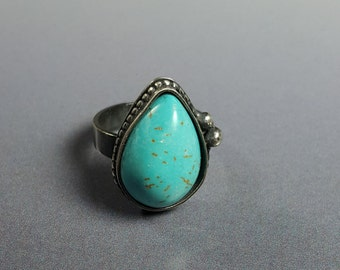 Turquoise and Sterling Silver Ring, turquoise ring, wide band ring, oxidized silver, Southwest style ring