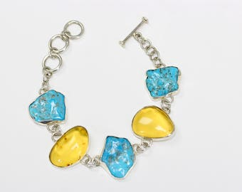 925 Sterling Silver Turquoise and Amber Toggle Bracelet