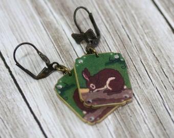 Brown Bunny Dangle Earrings, Brown Rabbit Dangle Earrings, Shrink Plastic Earrings, Lightweight Earrings, Bunny Jewelry, Rabbit Jewelry