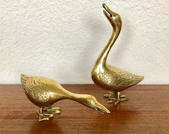 Large Pair Of Brass Geese Figurines
