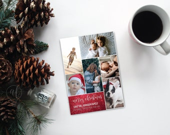 Multi Photo Christmas Card - 6 photo christmas card - Merry Christmas - holiday card - christmas photo card - photo card - photo collage