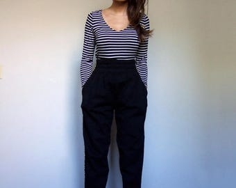 Black High Waisted Sweat Pants Gold Trim High Waisted Pants Tapered Harem Pants Sweatpants - Extra Small XS